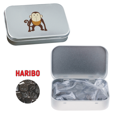 Silver tin with hinger liquorice coins