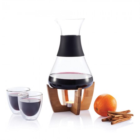 Glu mulled wine set with glasses, black