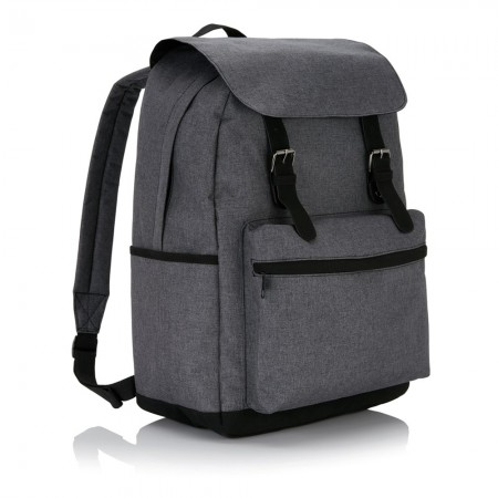 Laptop backpack with magnetic bucklestraps, grey