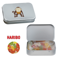 Silver tin with hinge gummy bears