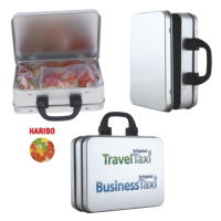 Suitcase tin with gummy bears