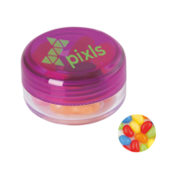 Round container with jelly beans