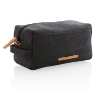 Canvas toiletry bag PVC free, black