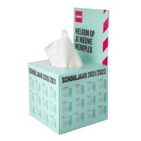 Tissue box with flap