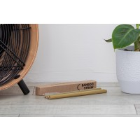 Straw made from bamboo - 4pack/cleaning brush included