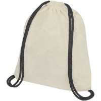 Oregon 100 g/m² cotton drawstring backpack with coloured cords