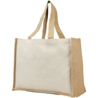 Varai 340 g/m² canvas and jute shopping tote bag