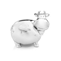 Money box Cow, large, silver plated lacquered