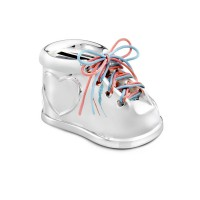 Money box Shoe, silver plated lacquered