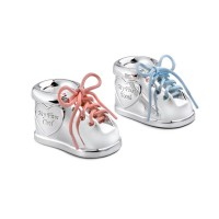 First tooth/haircurl box Shoe, set of 2, silver colour