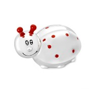 First tooth or hair lock box Ladybird, silver colour