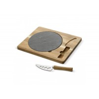 Slate serving plate with wooden board and knife